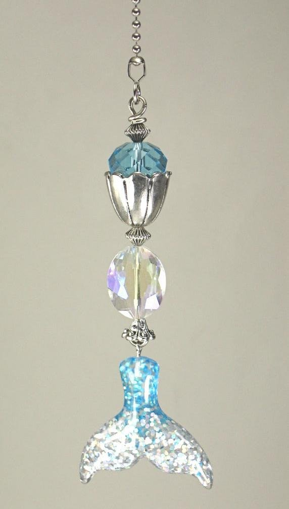 Turquoise Faceted Glass and Glittery Mermaid Tail Ceiling Fan Pull Chain