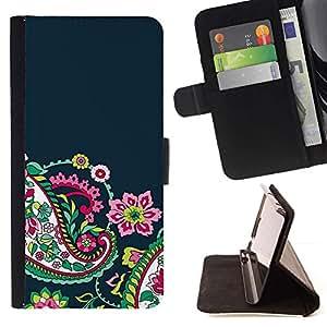For HTC One M9 Case , Flores Floral Azul marino- la tarjeta de Crédito Slots PU Funda de cuero Monedero caso cubierta de piel