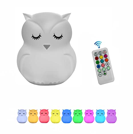 Owl Night Light For Kids Sensitive Tap Control And Remote Control