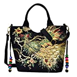 Cheap Vbiger Women Canvas Shoulder Bag Peacock Embroidery Handbag Stylish Tote Bags Casual Cross-body Bag, Decorative Pendants