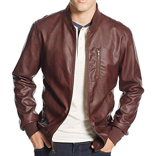 American Rag Mens Faux Leather Ribbed Knit Trim Bomber Jacket Brown M