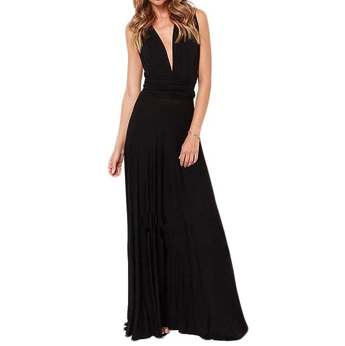 Riveroy Women's Formal Convertible Multi Way Wrap Long Bridemaid Maxi Dress  S Black