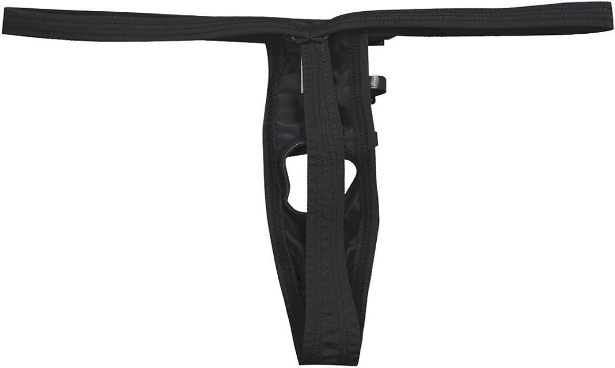 Men Shiny Metallic Brief Underwear Penis Hole Open Butt G-string Thong Underwear