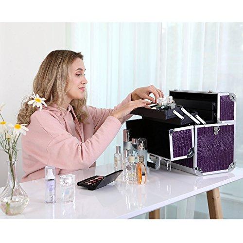 ad2e1991d625 Songmics Make up Storage Cosmetic case croco pattern JBC229  Amazon.co.uk   Beauty