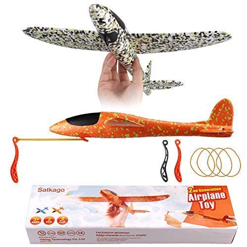 Satkago Foam Airplane Toy 2019 Version 2Pcs 15 Inch Styrofoam Flying Glider Toy Plane Airplanes for Kids Boys Manual Throwing Slingshot Planes Challenging Outdoor Sports Toys