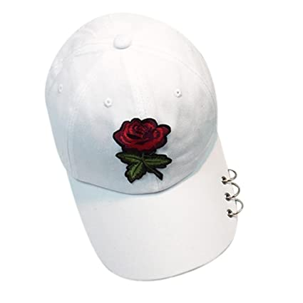 647f7293042 Image Unavailable. Image not available for. Color  Botrong Women Men Couple  Rose Baseball Cap Unisex Snapback Hip Hop Flat Hat ...