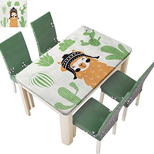 (Table in Washable Polyeste,Llama in A Traditional Ethnic Bolivian Hat Smiling Comic On Polka Dots Illustration Tablecloth for Indoor Use,61W X 100L Inches(Elastic)