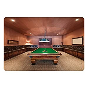 Ambesonne Modern Pet Mat for Food and Water, Entertainment Room in Mansion Pool Table Billiard Lifestyle Photo Print, Rectangle Non-Slip Rubber Mat for Dogs and Cats, Cinnamon Brown Green