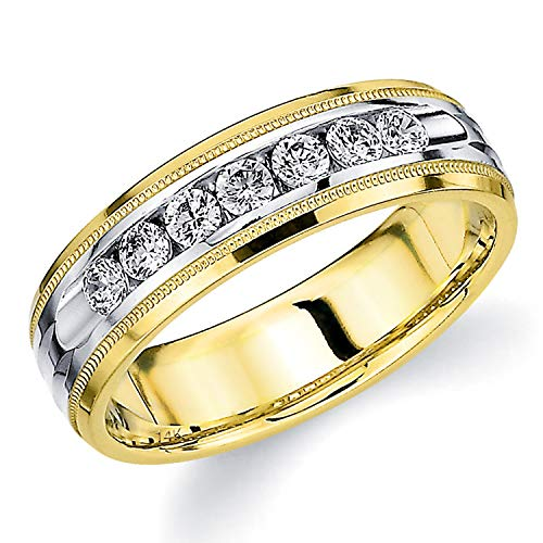 Men's .50ct Grooved Milgrain Diamond Ring in 14K Two Tone Gold - Finger Size 11 (Tone Ring Two Tiffany)
