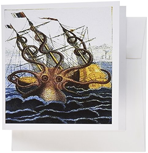 Attacking Set (3dRose Print of Painting of Giant Octopus Attacking Ship in Victorian Times Greeting Cards, Set of 12 (gc_183752_2))