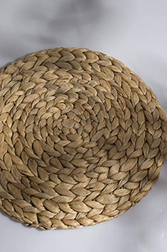 Woven Placemats,Rattan Round Placemats Natural Water Hyacinth Braided Heat-Reistant Non-Slip Tablemats for Dining Table Coasters Pots Pans Teapots in Kitchen,Farmhouse Decor (Handmade 11.8 inch 4pc)