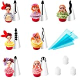 LUCKSTAR Russian Piping Tips - Set of 20-pieces Icing Piping Nozzles DIY Baking Tools For Cake Decoration - 7 Stainless Steel Nozzle Tips + 7 Dolls + 3 Couplers + 3 Size Reusable Silicone Pastry Bag