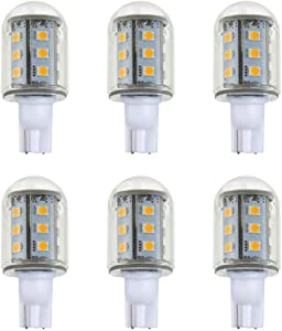 Makergroup T5 T10 Wedge Base LED Light Bulbs Glass Dome 12VAC/DC 2Watt Cool White 6000K for Outdoor Landscape Lighting Deck Stair Step Path Lights 6-Pack