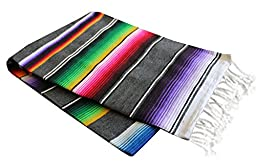 Del Mex X-large Mexican Serape Blanket Gray (82\