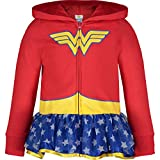 Warner Bros. Wonder Woman Girls' Full-Zip Lightweight Costume Hoodie Tulle Ruffles