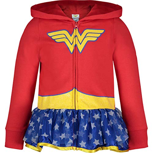 Warner Bros. Wonder Woman Toddler Girls' Full-Zip Lightweight Costume Hoodie Ruffles (6X) Red