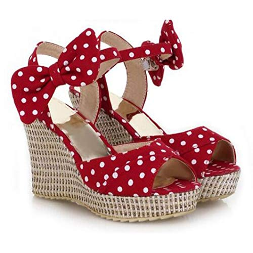 ChyJoey Women's Bowknot Wedge Sandals Peep Toe High Heels Thick Platform Girlish Cute Ankle Strap Sandal Red