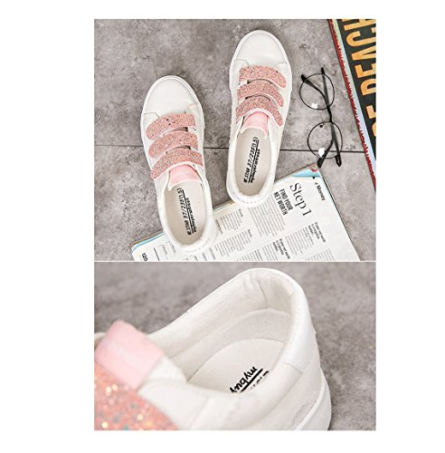 piane Colore casual moda Rosa tela Velcro scarpe scarpe scarpe respirabili 36 scarpe dimensioni sportive Rosa da scarpe ginnastica scarpe HwwBYSxq4