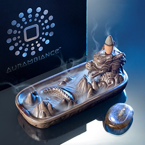 AurAmbiance Dragon Statue Backflow Incense Burner Holder with 30 Incense Cones & Bonus Healing Crystal + Upscale Gift Box (Upscale Box)