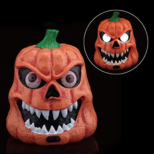 Scary Pumpkin (REAK Halloween Horrible Pumpkin Lights,Pumpkin Heads Haunted Halloween Decorations , Battery Powered, Lighted Eyes, Sound Control horrible sound Electric Pumpkin Head)