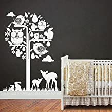 Birch Tree with Cute Forest Animals Friends Woodland Nursery Wall Decal Set
