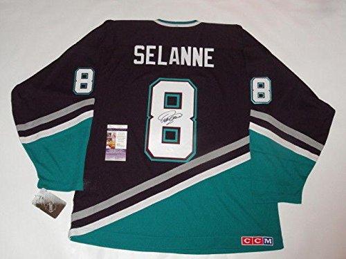 Teemu Selanne Signed Jersey - #8 Vintage Mighty Hof Licensed Coa - JSA Certified - Autographed NHL Jerseys