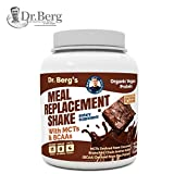 Dr. Berg's Meal Replacement Shake with MCTs & BCAAs, Plant Based Organic Protein, Zero Added Sugars – Delicious Creamy Chocolate Brownie Flavor, 11 Grams of Protein, 4 Grams of MCT, 1.55 Pounds