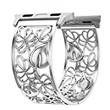 Apple Watch Band 42mm Women, Breathable Floral Replacement Strap for Apple Watch Series 3,2,1,Sport,Nike+,Fashion Wristband(Silver)