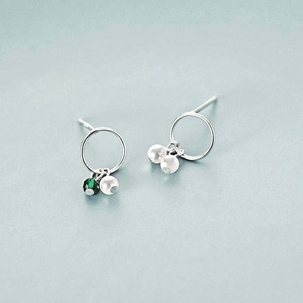 S&RL Pendientes de Plata para Mujer Pendientes de Botón S925 Pendientes de Plata de Ley con Diamantes Verdes Pendientes de Círculo Geométrico de Moda Pendientes de Perlas Pendientes Femeninosplati
