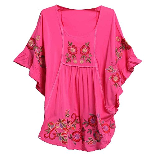 Ashir Aley New 2015 Floral Embroidered Butterfly Sleeve Wrap Peasant Blouse , Large, Style2 Fuschia