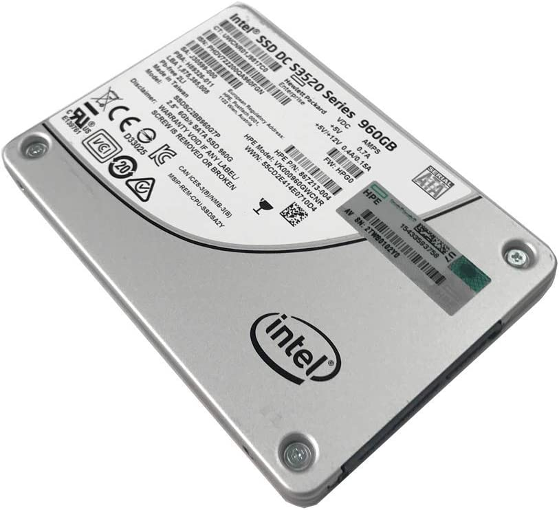 HP 867213-004 Intel DC S3520 Series 960GB 2.5-inch 7mm SATA III MLC (6.0Gb/s) Internal Solid State Drive (SSD) SSDSC2BB960G7P - 5 Years Warranty