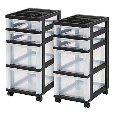 IRIS 4-Drawer Rolling Storage Cart with Organizer Top, Black, 2 Pack