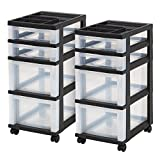 IRIS 4-Drawer Rolling Storage Cart with Organizer Top, Black, 2 Pack