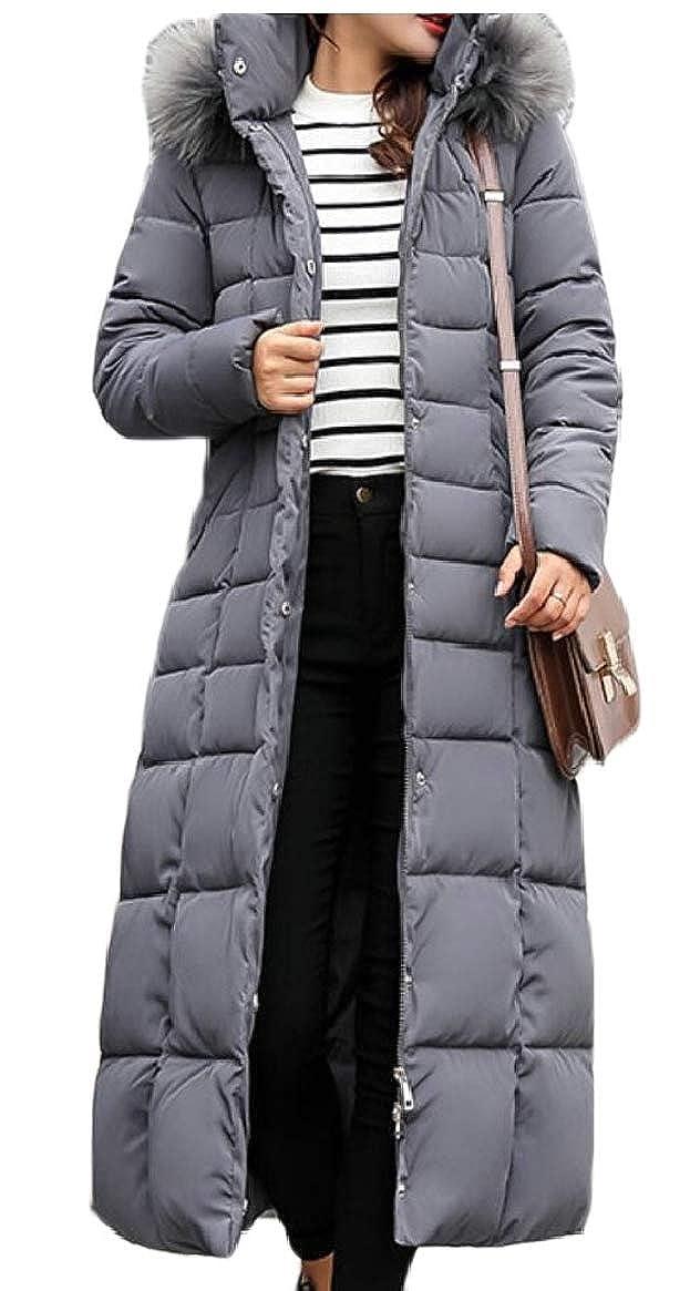 Gery jxfd Women Warm Down Coat Faux Fur Hooded Parka Puffer Jacket Long Overcoat