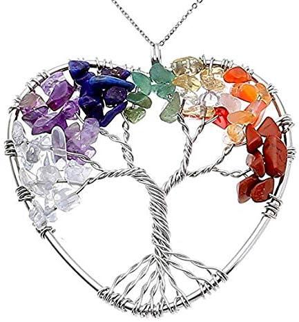 NIUTAH Chakra Gemstone Tree of Life Natural Tumbled Gemstone Wire Wrapped Pendant Necklace (Amazonite) 51geWbxH54L