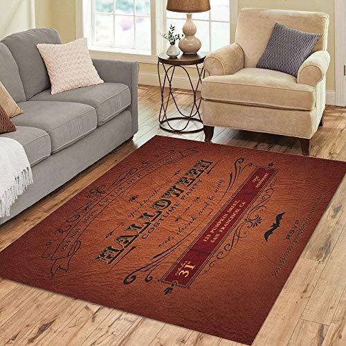 (Pinbeam Area Rug Orange Vintage Halloween Party Label Classic October Announcement Home Decor Floor Rug 5' x 7')