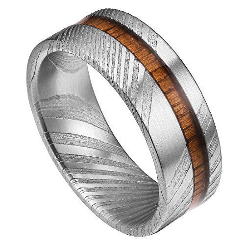 Doux Mens 8mm Rare Damascus Steel Real Wood Inlay Wedding Ring Statement Ring Flat Style 11 by DOUX
