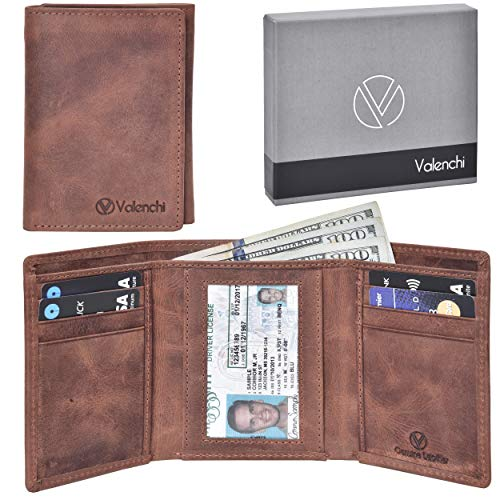 Leather Wallet Money Organizer - Valenchi - Genuine Leather RFID Wallets for Men and Women with multi card slots, 2 Note pocket coin pocket and ID window (Brown Waxy)