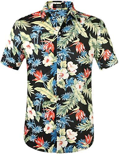 SSLR Men's Cotton Button Down Short Sleeve Hawaiian Shirt (Small, Black ()