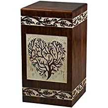 STAR INDIA CRAFT Handmade Tree of Life Wooden Cremation Urns for Human Ashes - Adult Large Funeral Urn for Human Ashes, Wooden Box,Burial Urn - 250 Cu/In