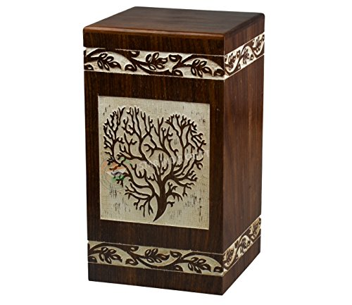 STAR INDIA CRAFT Handmade Tree of Life Wooden Cremation Urns for Human Ashes - Adult Large Funeral Urn for Human Ashes, Wooden Box,Burial Urn - 250 Cu/In -