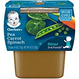 Gerber Purees 2nd Foods Baby Food, Pea/Carrot/Spinach, 4 oz, 2 ct