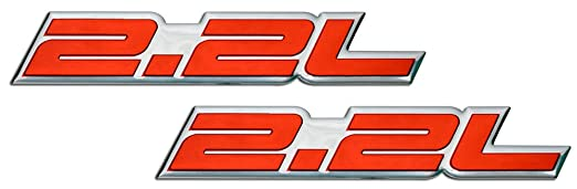 2 x 2.2L Liter Embossed BLACK on Highly Polished Silver Real Aluminum Auto Emblem Badge Nameplate for Honda Accord LX EX DX Prelude H22 S2000 F22C S Civic Del Sol CRX CR-X Integra Acura CL Odyssey Toyota Camry LE Mini Wagon MR2 Celica GT Solara pair//Set