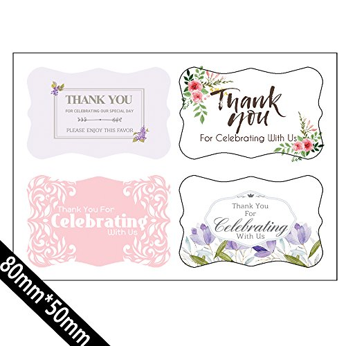 Thank You For Celebrating With Us)80 Label Stickers tags- Wedding,Birthday,Baby Bridal Shower,Graduation, Anniversary, Business, Party Favors. 4 Different Designs -
