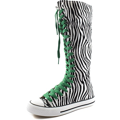 Punk Womens Flat Sneaker Boots Boots Mid DailyShoes Zebra Calf Green Tall Lace Casual Canvas Leaf 8qwz0wyd