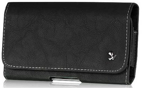 BLU Life One XL Genuine Bold Leather Case Pouch Metal Clip With Belt Loop Hidden Magnetic Closure Black