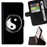 - Eight trigrams of Yin and Yang - - Premium PU Leather Wallet Case with Card Slots, Cash Compartment and Detachable Wrist Strap FOR Apple Iphone 5 / 5S Lady Case