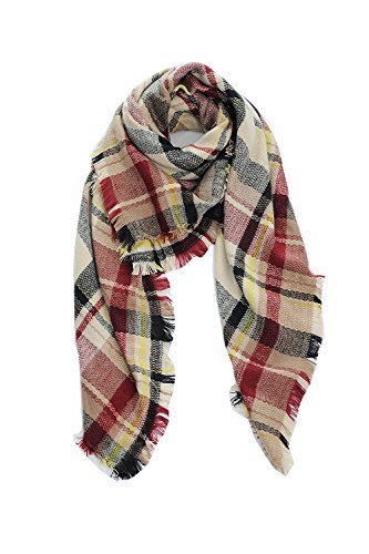Cozy Tartan Blanket Scarf Wrap Shawl Neck Stole Warm Plaid Checked Pashmina Black Claret