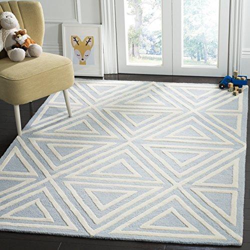 - Safavieh Kids Collection SFK912E Handmade Blue Triangles Wool Area Rug (5' x 7')