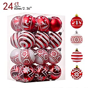 Valery Madelyn 24ct 60mm Traditional Red and White Shatterproof Christmas Ball Ornaments Decoration,Themed with Tree…